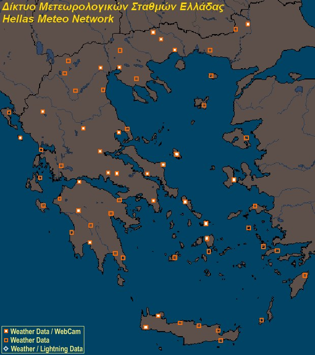 Mesomap of Hellas Weather Network Stations